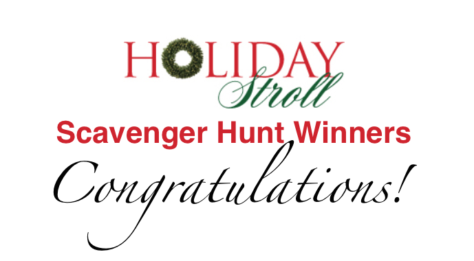 Winners of the 2017 Holiday Stroll Scavenger Hunt