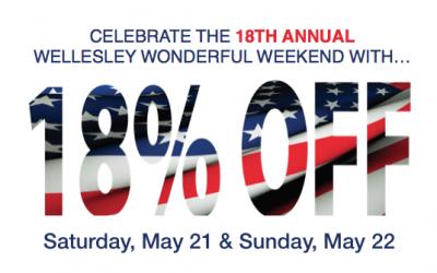 18% Off for the Wellesley Wonderful Weekend