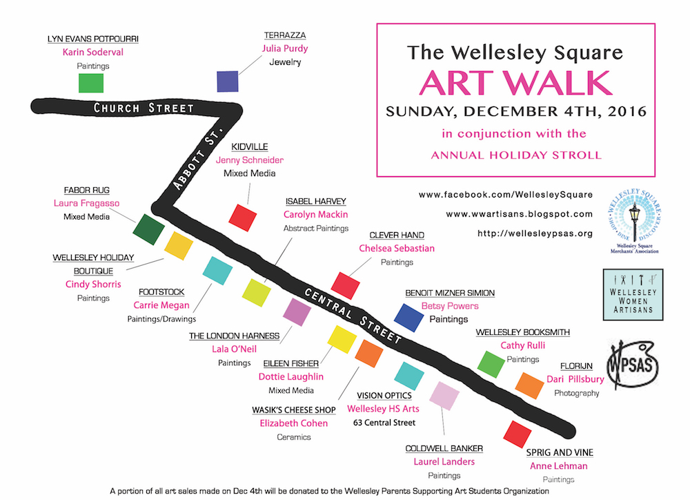 Wellesley Square Holiday Stroll Art Walk Map