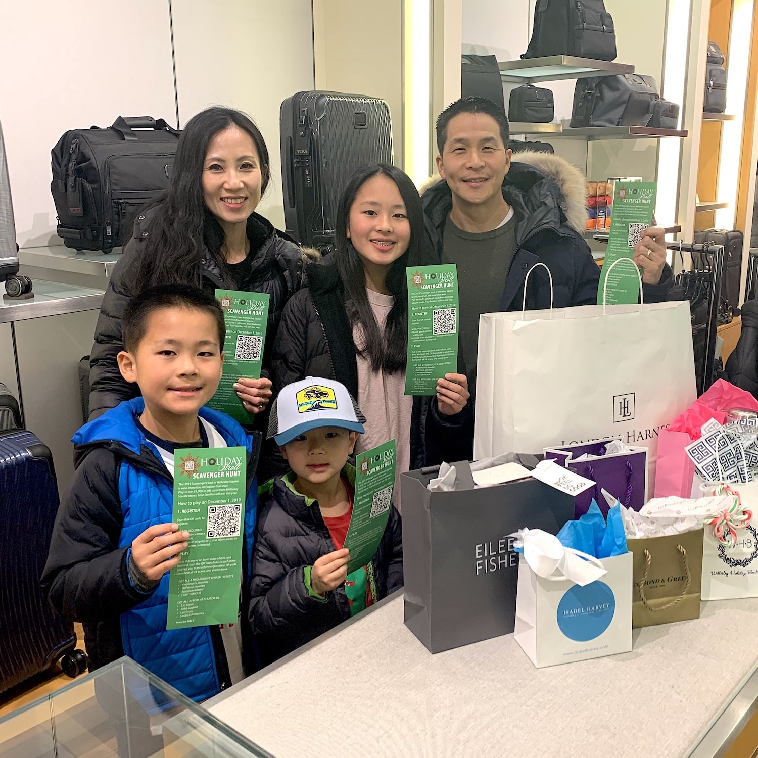 Scavenger Hunt winners from the 2019 Holiday Stroll in Wellesley Square